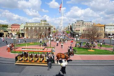 View of Main Street at Walt Disney Magic Kingdom Theme Park Orlando Florida Central from the Train Station