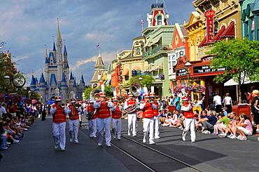 Band in Parade along Main Street at Walt Disney Magic Kingdom Theme Park Orlando Florida Central