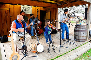 Pleasant Family Country Band Performs at Cracker Country Florida living history museum located on the Florida State Fairgrounds Tampa