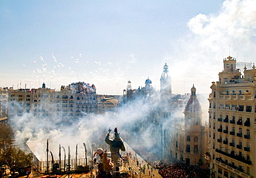 Smoke over City Hall Square during 'mascleta' fireworks, 'Fallas' festival, Valencia, Comunidad Valenciana, Spain, 2008