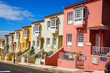 Colourful terraced houses, La Orotava, Tenerife, Canary Islands, Spain
