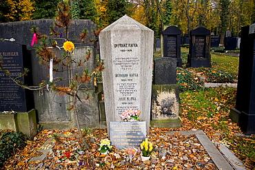 Kafkas tomb at Jewish Cemetery in Prague, Czech Republic