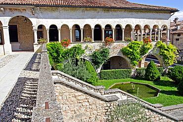 Medieval hill towns in the foothills of the Dolomites Town of Follina Abbaziz St, Maria di Follina 13th century basilica abbey, Route del Prosecco, Veneto, Italy