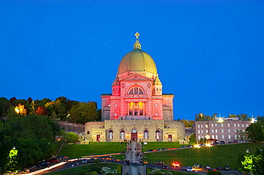 St-Josephs Oratory (Oratoire St-Joseph) after 9PM mass, Trails belong both to car traffic leaving the Oratory and worshippers holding votive candles, Montreal, Quebec, Canada