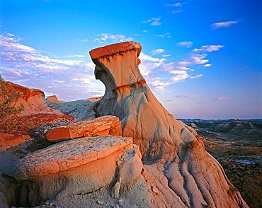 Dusk over Badlands formations, Theodore Roosevelt National Park, Noth Dakota, USA