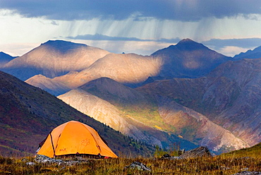 Approaching rain showers from backcountry camp in Tombstone Territorial Park, Yukon, Canada