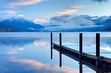 Boat dock on Lake McDonald, Glacier National Park Montana USA