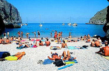 Sa Calobra beach, Torrent de Pareis, Majorca, Balearic Islands, Spain