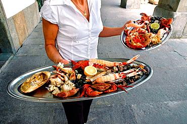 Seafood at Calemae restaurant, Maria Pita Square, La Coruna, Galicia, Spain