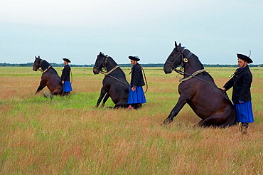 Farmers with traditional Hungarian dress, Big plain, Hortobagy National Park, North Hungary