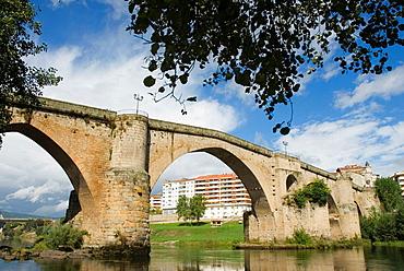 Main Bridge (aka Old Bridge or Roman Bridge) over Mino river, Ourense, Galicia, Spain