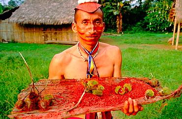 Man.Tsachilas, Tsachila community of the Indios Colorados, Santo Domingo de los Colorados, Pichincha province, Ecuador