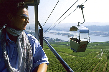 Germany - Rhineland-Palatinate - Rudesheim, Cruise down the Rhine river, Riesling vineyards and Rhine river from a chair lift