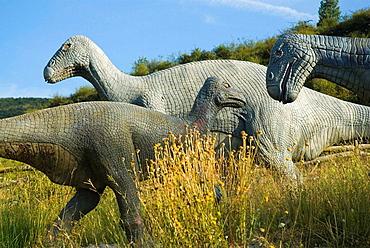 Life size replica of an Iguanodon family in Valdecevillo site, Enciso, La Rioja, Spain