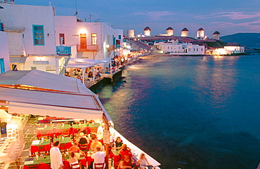 Restaurants at Alefkandra and windmills, Mikonos, Cyclades islands, Greece