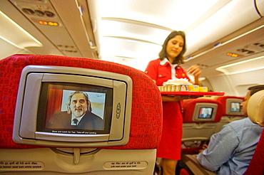 Indian tycoon Vijay Mallya on screen in Kingfisher indian airline