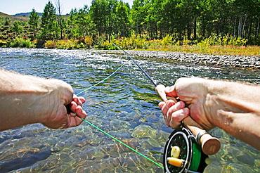 Point of view flyfishing, Sun Valley, Idaho, USA