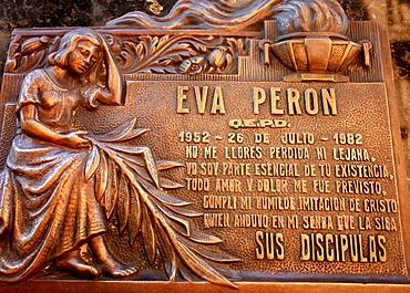Burial place of Eva Peron in La Recoleta distric cemetery, Buenos Aires, Argentina