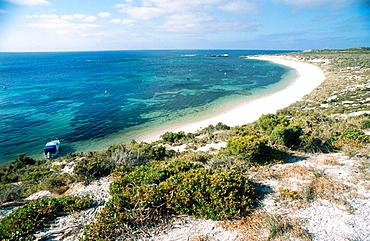 Boat moored in Parakeet Bay, Rottnest Island, Western Australia