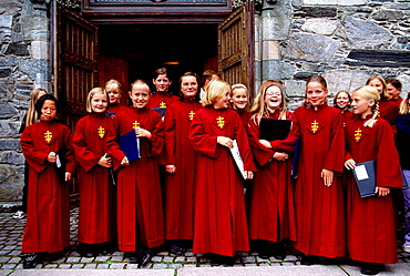 Small girls chorus in the cathedral, Stavanger, Norway.