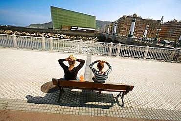 Promenade by river Urumea, Zurriola bridge and Kursaal Congress Centre by Rafael Moneo, San Sebastian, Guipuzcoa, Basque Country, Spain