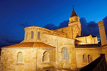 San Pedro Church at night, Gijon, Asturias, Spain.