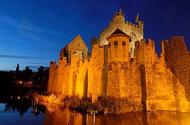 Gravensteen (Castle of the Counts) at dusk, Ghent, Flanders, Belgium