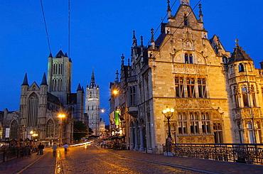St, Nicholas' Church and Lakenhalle from St, Michael's bridge at Dusk, Ghent, Flanders, Belgium