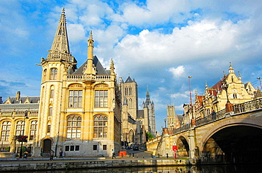 Old post office and St, Nicholas' Church from St, Michael's bridge, Ghent, Flanders, Belgium