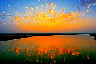 Marshes of Odiel river at sunset, Huelva province, Andalusia, Spain