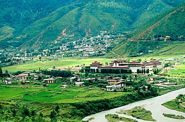 Buddhist monastery, Tashichho Dzong, Thimphu, Bhutan.
