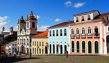 Street and Nossa Senhora do Rosario dos Pretos church in background, Salvador da Bahia, Brazil