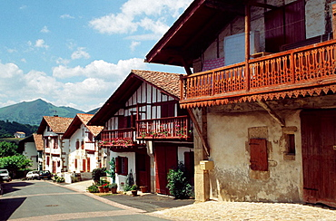 View of Ihalar district, Sare (aka Sara), French Basque Country, Pyrenees Atlantiques, France