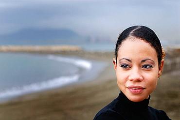 Spain, Malaga, Woman on beach