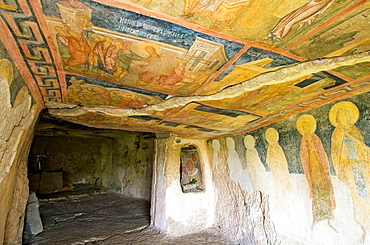 Rock-hewn church of Ivanovo, medieval painting of ceiling and walls, world heritage, nature park of Russenski Lom, Northern Bulgaria
