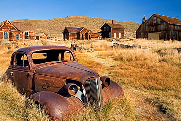 Old rusted car in the ghost town, Bodie State Historic Park, Bodie, California, United States