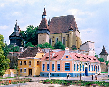 Saxon fortified church of Biertan and village, near Sighisoara, Transylvania, Romania