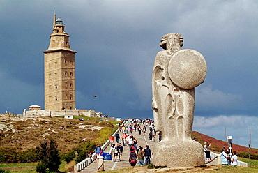 Breogan sculpture and Hercules tower in La Coruna, Galicia, Spain