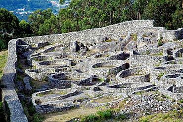 Monte de Santa Tecla, Pontevedra, Galicia, Spain, Celtic village of the cultura castrena (circular dwelling) influenced by the roman culture (square dwelling), 2nd century BC