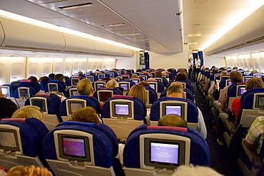 Economy class of Boeing 747, the Jumbo Jet