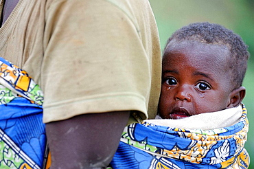 Woman carrying child on her back, Rwanda, Africa