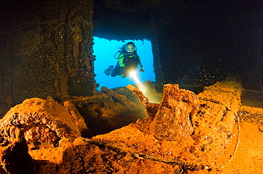 Diver discover Teapot inside of HIJMS Nagato Battleship, Marshall Islands, Bikini Atoll, Micronesia, Pacific Ocean