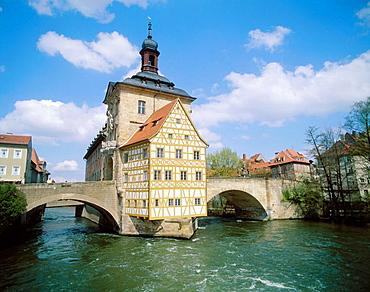 Old  City Hall, Regnitz river, Bamberg, Bavaria,  Germany