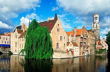 Rozenhoedkaai (Quay of the rosary) with Belfort tower, Bruges, Belgium