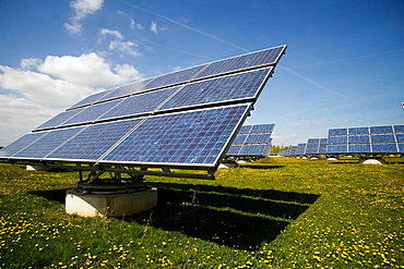 Solar cells Gut Erlasee,worlds biggest solar power station, Solon AG, 1408 Solon-Movers, Arnstein, Bavaria, Germany