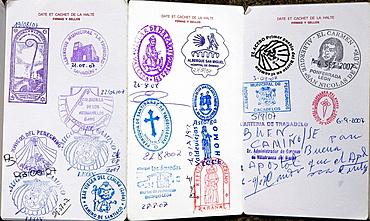 St, James pilgrim passport, Santiago de Compostela, La Coruna province, Galicia, Spain