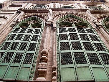 Looking up at the old doorframes of a haveli merchants house, Peshawar, Pakistan