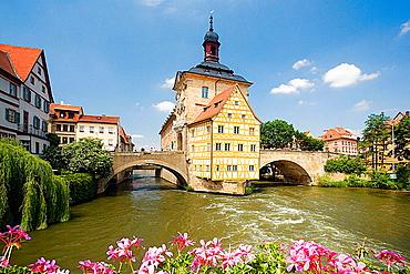 Germany, Bavaria, Bamberg, City Hall on a bridge over Regnitz river.