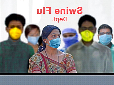 People outside Swine Flu department in a hospital, H1N1