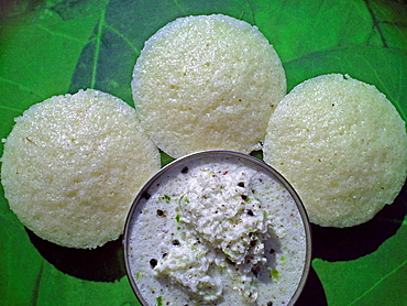 Idali a south Indian, favorite dish  Made by making pastes of wait rice & Udeed dal  India